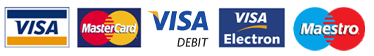 cards accepted are Visa, Mastercard, Maestro, Visa Electron and Visa Debit